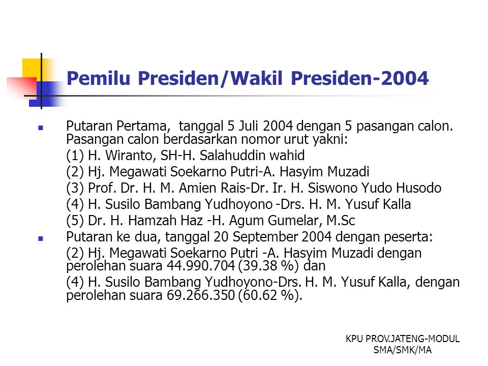 Pemilu Presiden/Wakil Presiden-2004