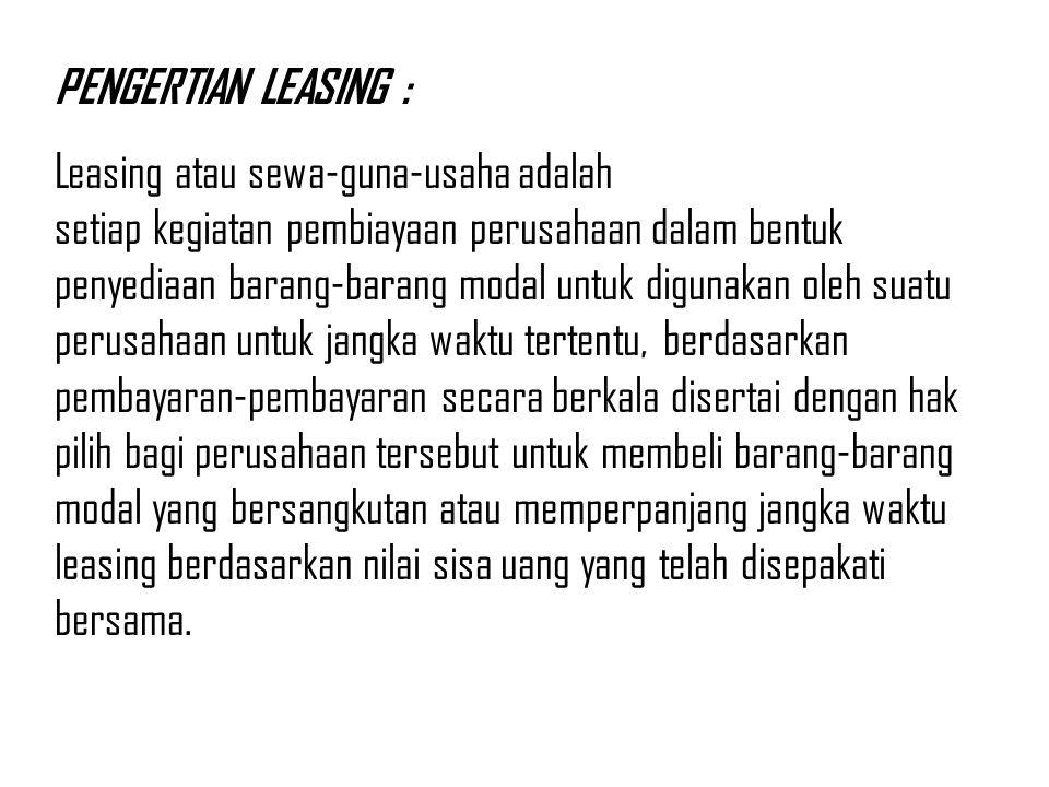 PENGERTIAN LEASING :