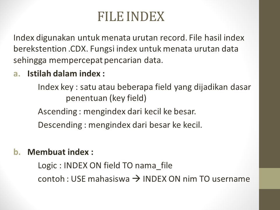 FILE INDEX
