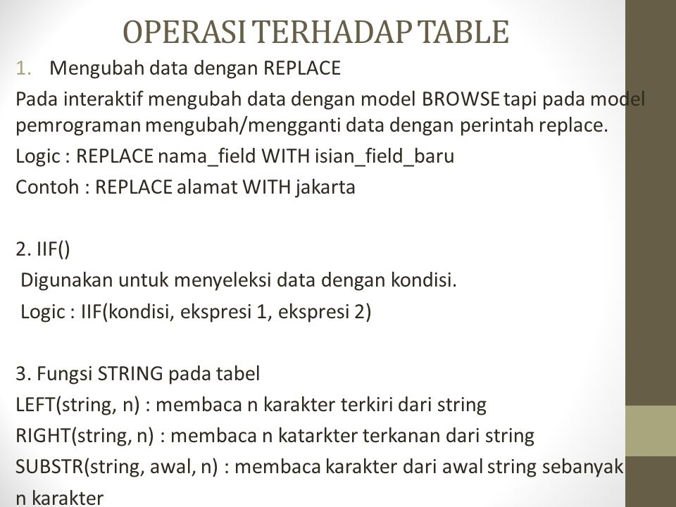 OPERASI TERHADAP TABLE