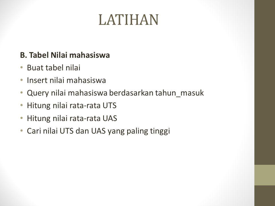 LATIHAN B. Tabel Nilai mahasiswa Buat tabel nilai