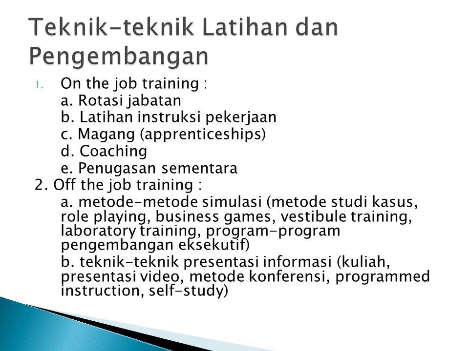 Teknik-teknik Latihan dan Pengembangan
