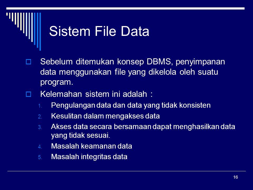 Sistem File Data Sebelum ditemukan konsep DBMS, penyimpanan data menggunakan file yang dikelola oleh suatu program.