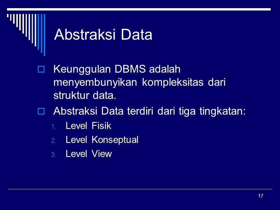 Abstraksi Data Keunggulan DBMS adalah menyembunyikan kompleksitas dari struktur data. Abstraksi Data terdiri dari tiga tingkatan: