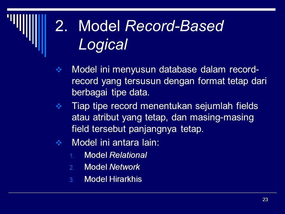 Model Record-Based Logical