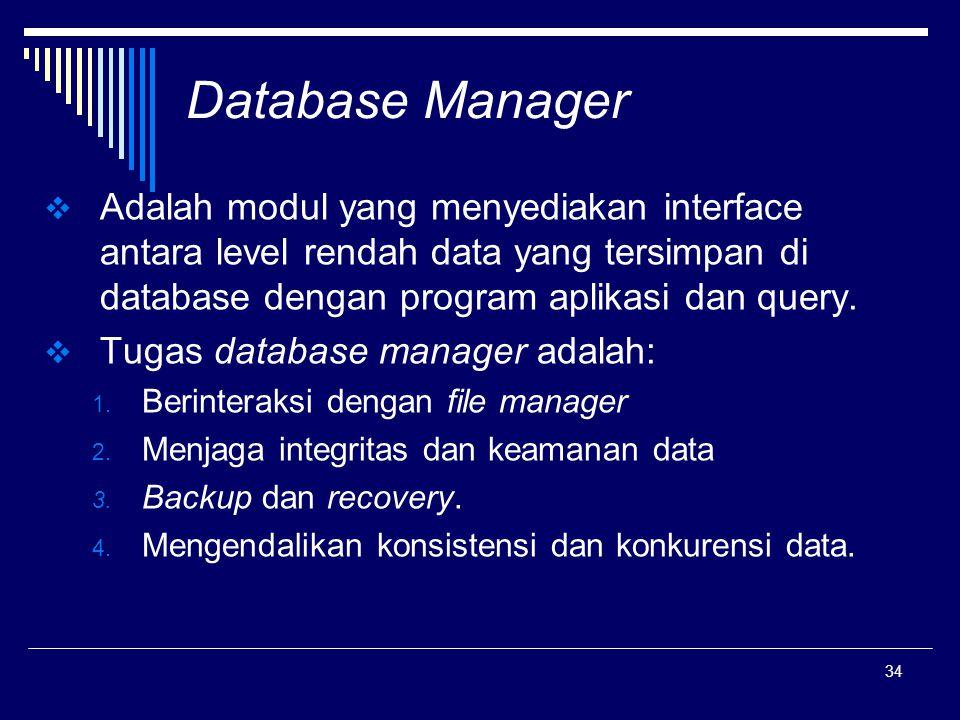 Database Manager Adalah modul yang menyediakan interface antara level rendah data yang tersimpan di database dengan program aplikasi dan query.
