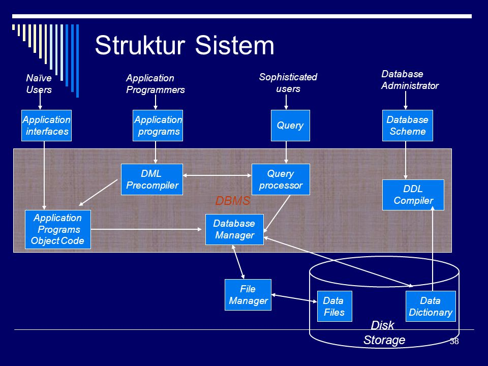 Struktur Sistem DBMS Disk Storage Application interfaces programs