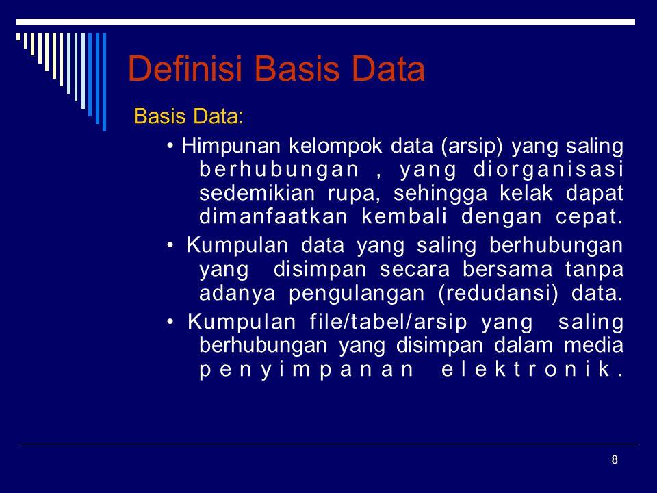 Definisi Basis Data Basis Data: