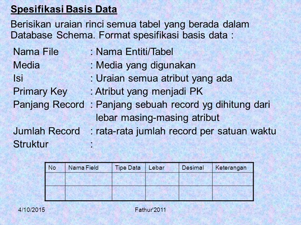 Spesifikasi Basis Data