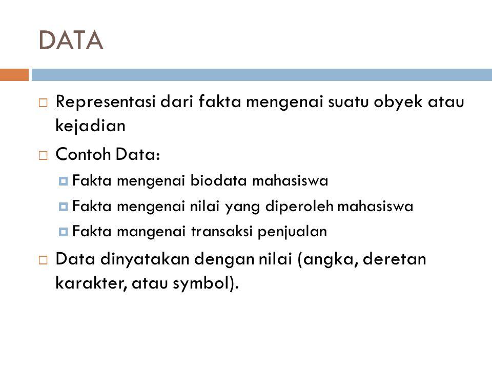 DATA Representasi dari fakta mengenai suatu obyek atau kejadian