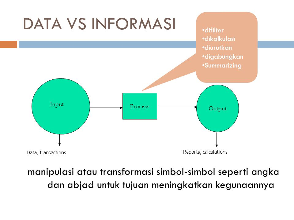 DATA VS INFORMASI difilter. dikalkulasi. diurutkan. digabungkan. Summarizing. Process. Output.