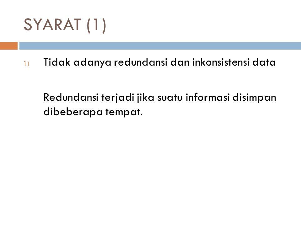 SYARAT (1) Tidak adanya redundansi dan inkonsistensi data