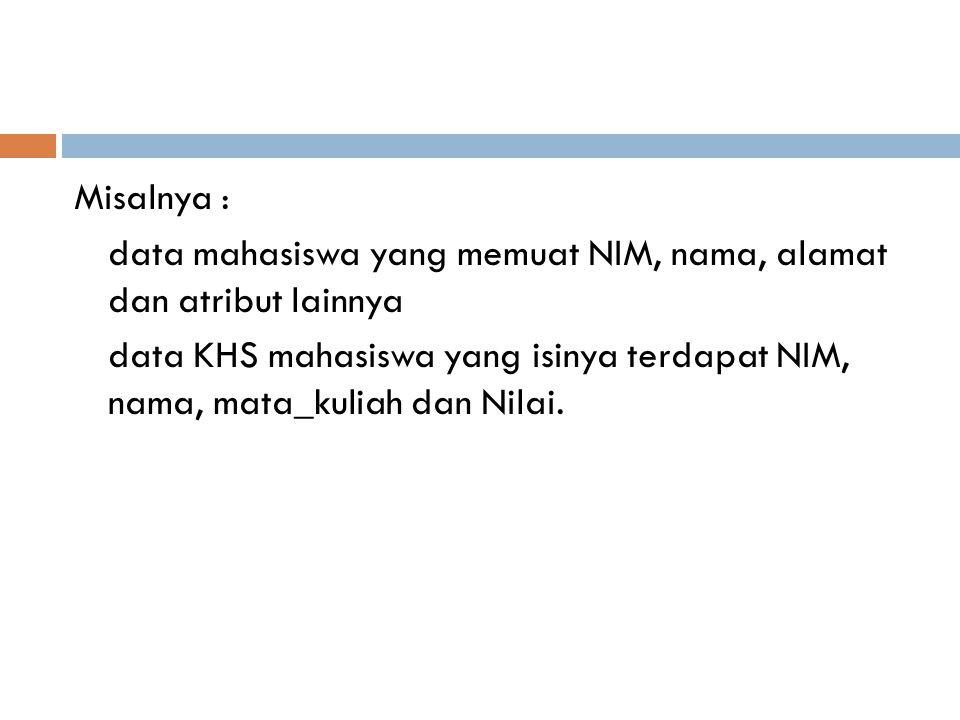 Misalnya : data mahasiswa yang memuat NIM, nama, alamat dan atribut lainnya.