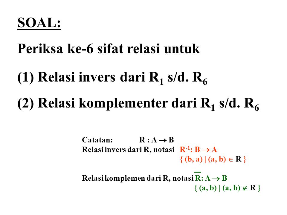 Periksa ke-6 sifat relasi untuk Relasi invers dari R1 s/d. R6