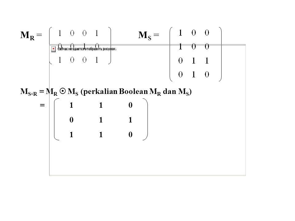 MR = MS = MS°R = MR  MS (perkalian Boolean MR dan MS) = 1 1 0 0 1 1