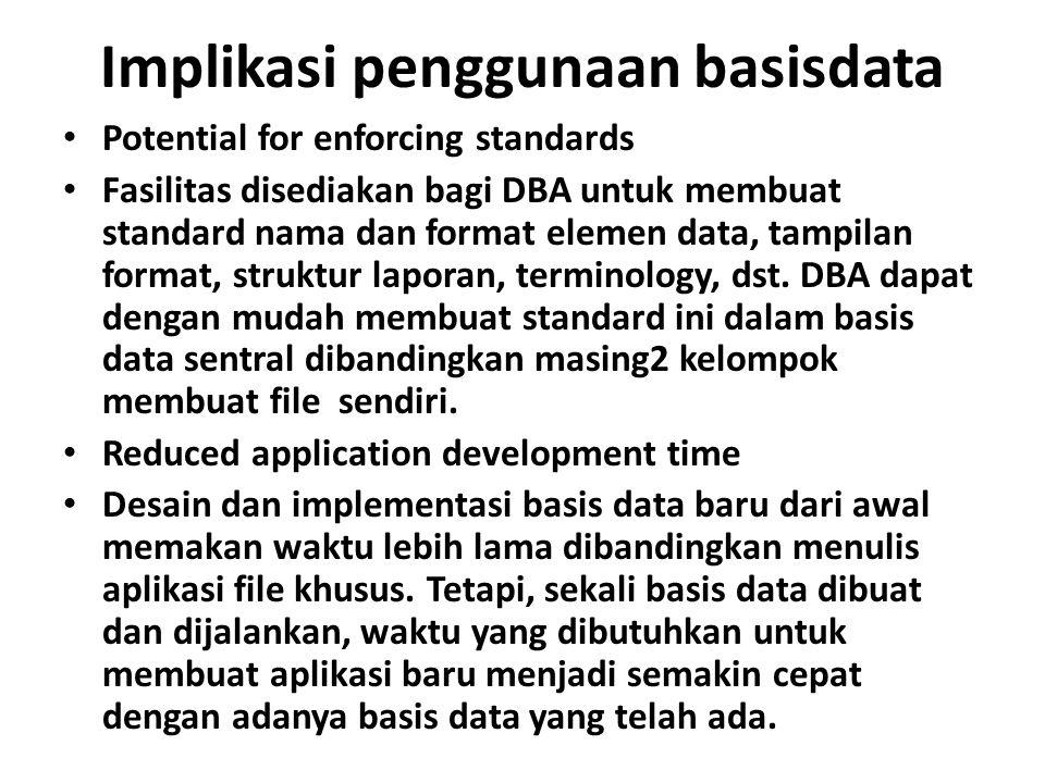Implikasi penggunaan basisdata