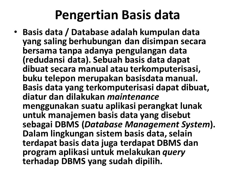 Pengertian Basis data