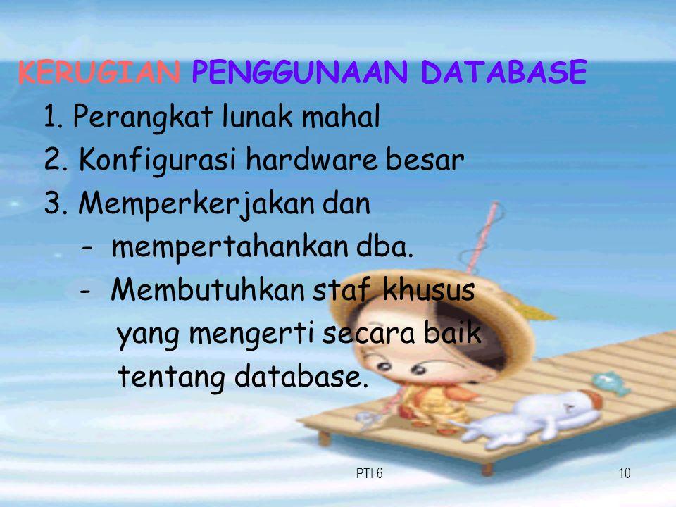 KERUGIAN PENGGUNAAN DATABASE 1. Perangkat lunak mahal