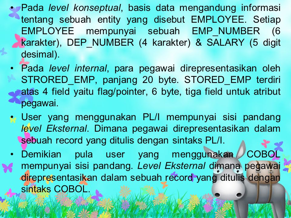 Pada level konseptual, basis data mengandung informasi tentang sebuah entity yang disebut EMPLOYEE. Setiap EMPLOYEE mempunyai sebuah EMP_NUMBER (6 karakter), DEP_NUMBER (4 karakter) & SALARY (5 digit desimal).