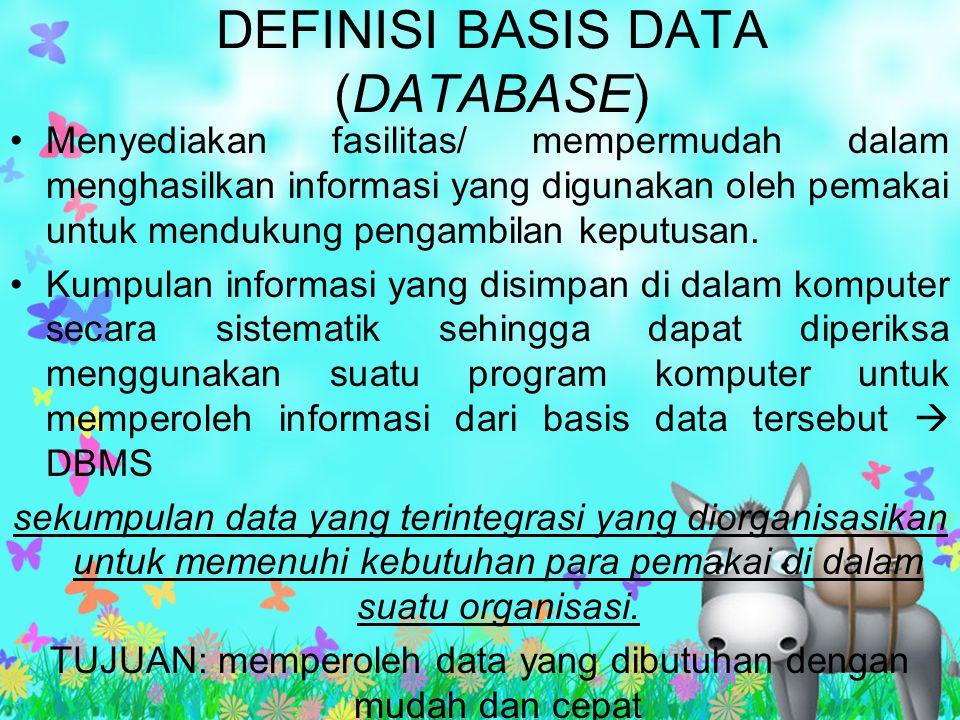 DEFINISI BASIS DATA (DATABASE)