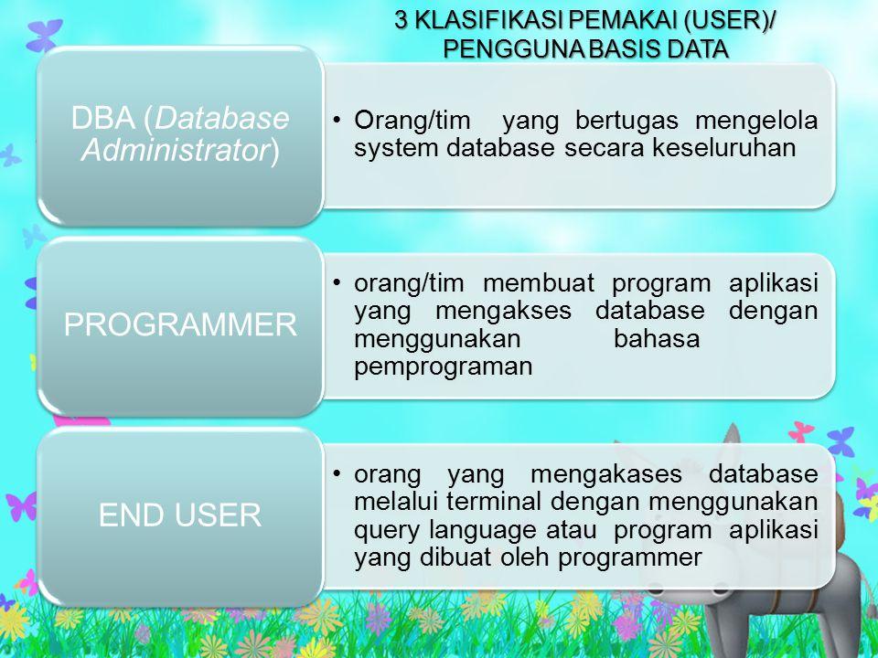 3 KLASIFIKASI PEMAKAI (USER)/ PENGGUNA BASIS DATA