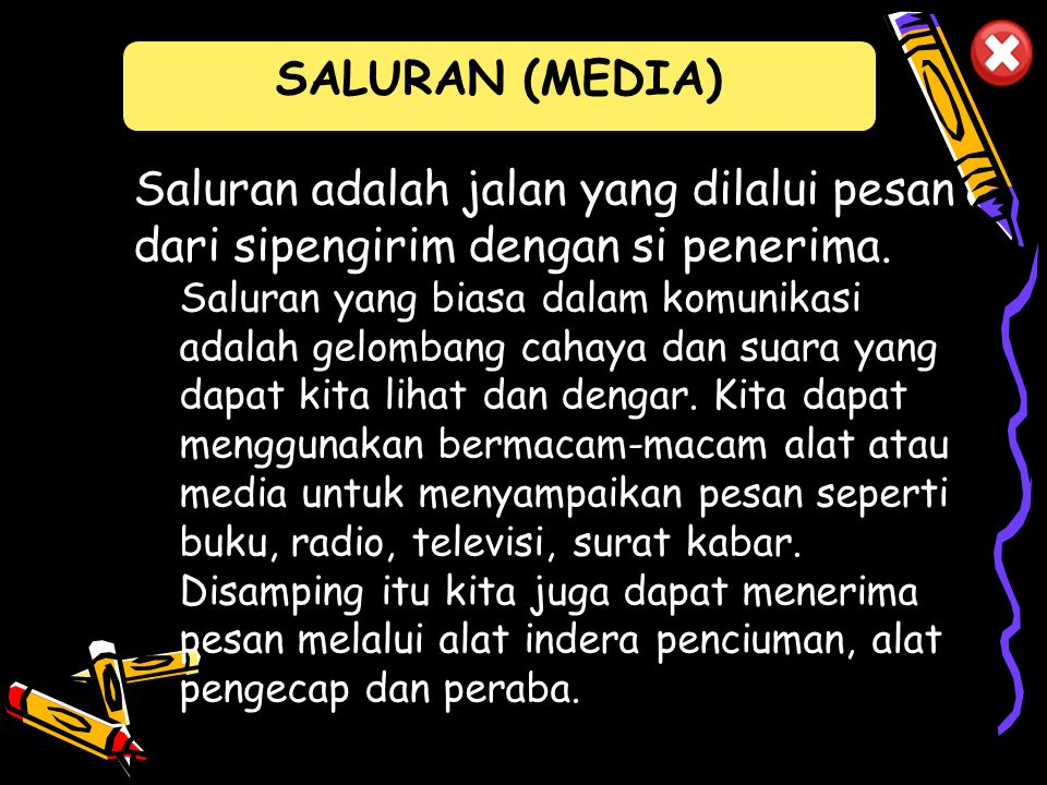 SALURAN (MEDIA) Saluran adalah jalan yang dilalui pesan dari sipengirim dengan si penerima.