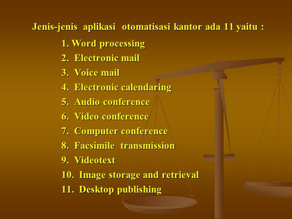 Jenis-jenis aplikasi otomatisasi kantor ada 11 yaitu :