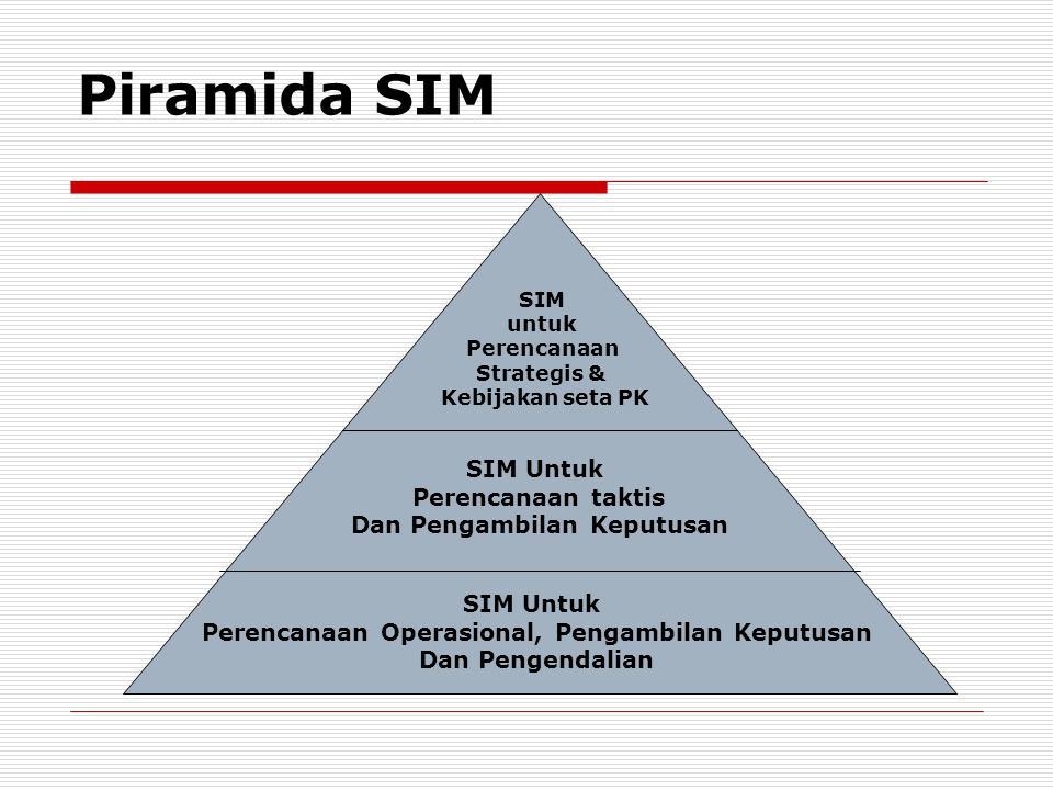 Piramida SIM SIM Untuk Perencanaan taktis Dan Pengambilan Keputusan