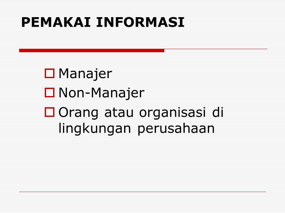 PEMAKAI INFORMASI Manajer Non-Manajer Orang atau organisasi di lingkungan perusahaan