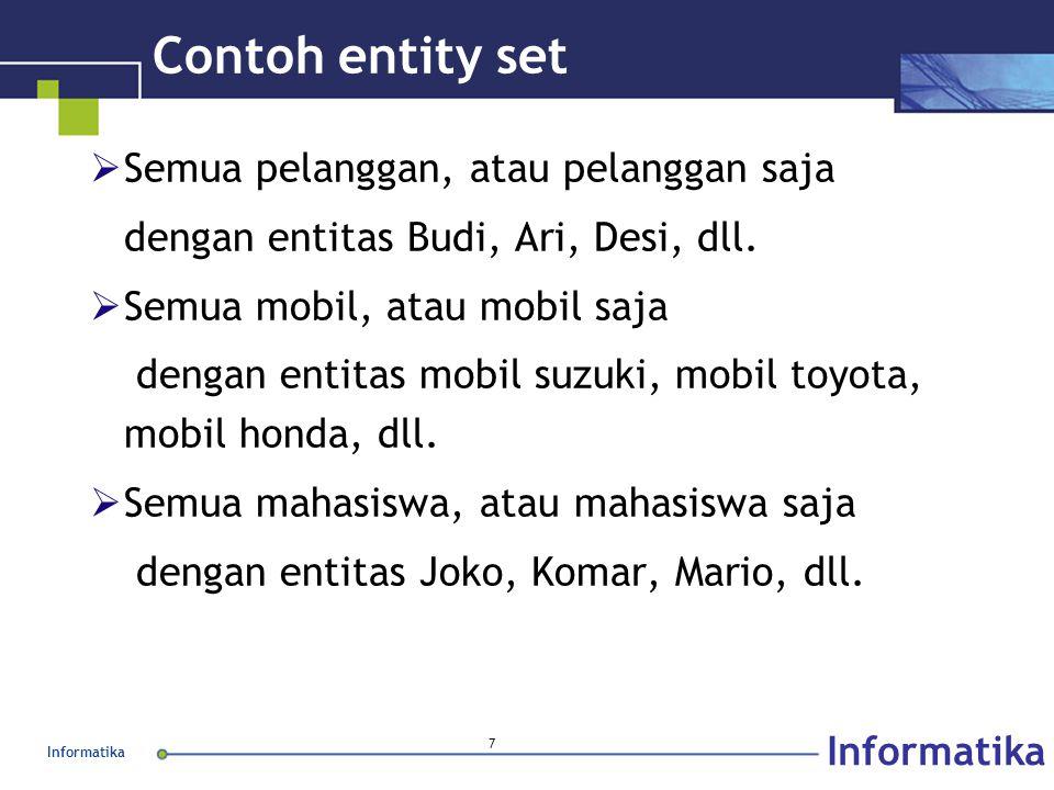 Contoh entity set Semua pelanggan, atau pelanggan saja
