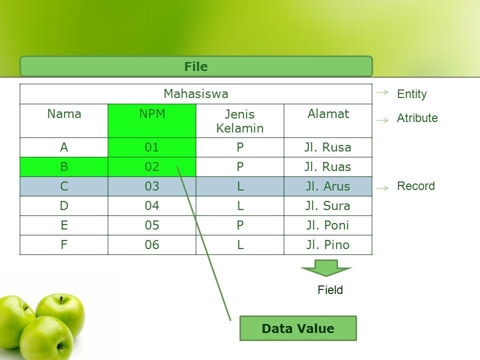 File Mahasiswa. Nama. NPM. Jenis Kelamin. Alamat. A. 01. P. Jl. Rusa. B. 02. Jl. Ruas. C.