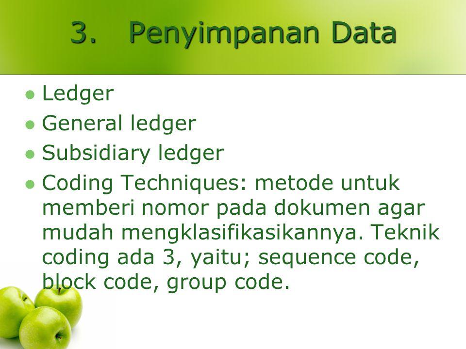 3. Penyimpanan Data Ledger General ledger Subsidiary ledger