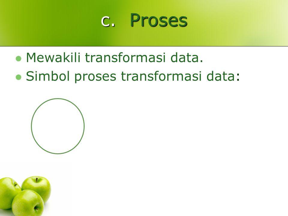 c. Proses Mewakili transformasi data. Simbol proses transformasi data: