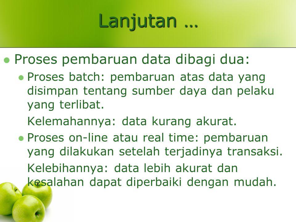 Lanjutan … Proses pembaruan data dibagi dua: