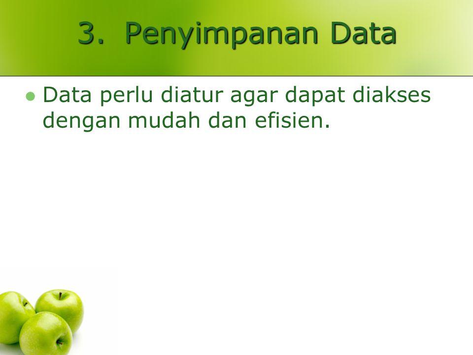 3. Penyimpanan Data Data perlu diatur agar dapat diakses dengan mudah dan efisien.