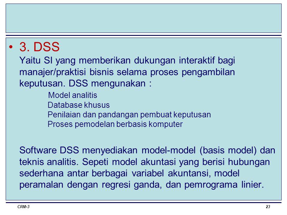 3. DSS Yaitu SI yang memberikan dukungan interaktif bagi manajer/praktisi bisnis selama proses pengambilan keputusan. DSS mengunakan : Model analitis Database khusus Penilaian dan pandangan pembuat keputusan Proses pemodelan berbasis komputer Software DSS menyediakan model-model (basis model) dan teknis analitis. Sepeti model akuntasi yang berisi hubungan sederhana antar berbagai variabel akuntansi, model peramalan dengan regresi ganda, dan pemrograma linier.