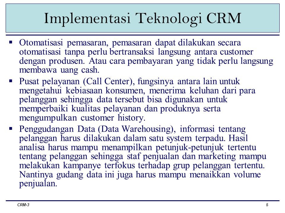 Implementasi Teknologi CRM