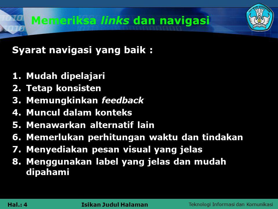 Memeriksa links dan navigasi