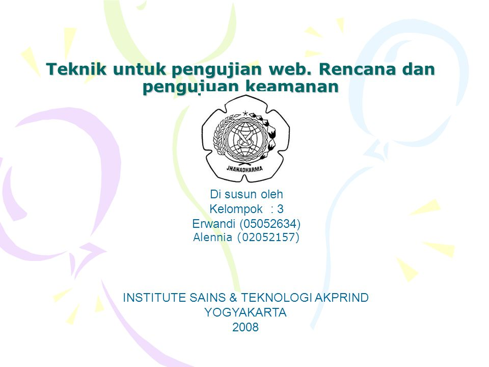 Teknik untuk pengujian web. Rencana dan pengujuan keamanan