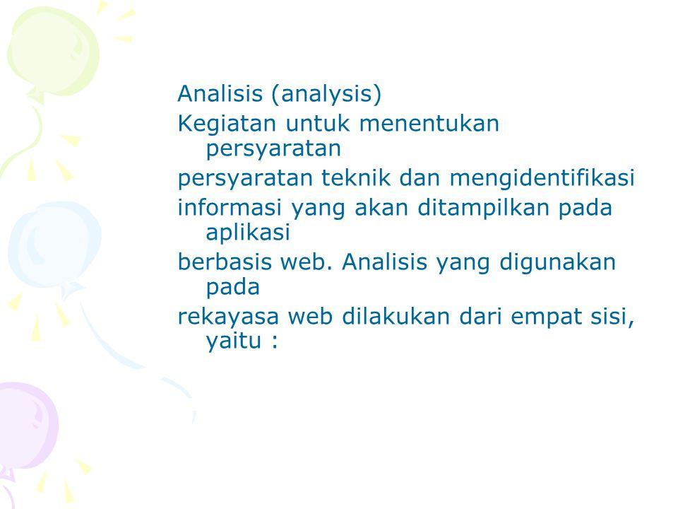 Analisis (analysis) Kegiatan untuk menentukan persyaratan. persyaratan teknik dan mengidentifikasi.