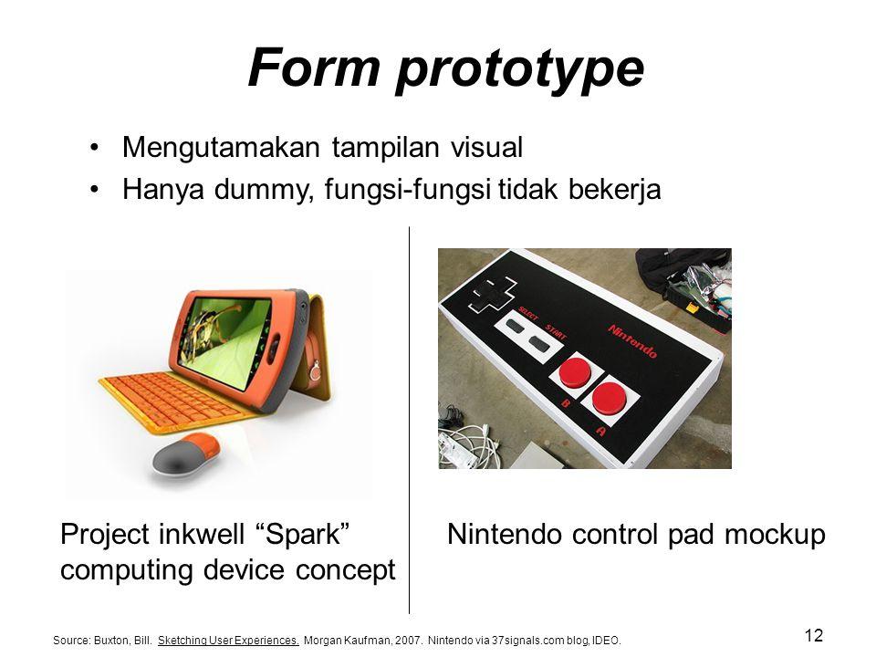 Form prototype Mengutamakan tampilan visual