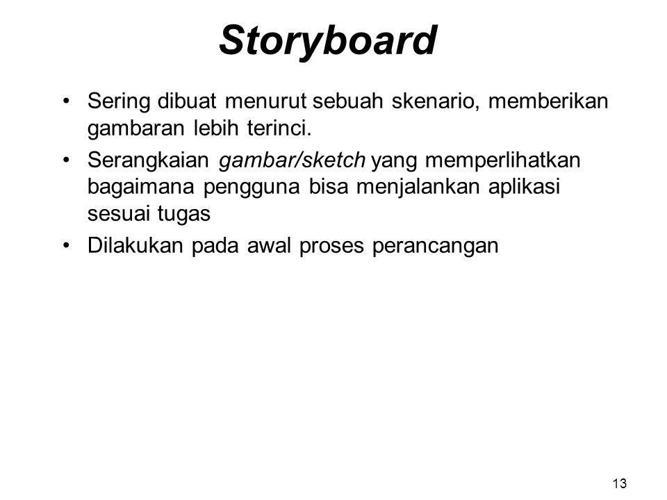 Storyboard Sering dibuat menurut sebuah skenario, memberikan gambaran lebih terinci.