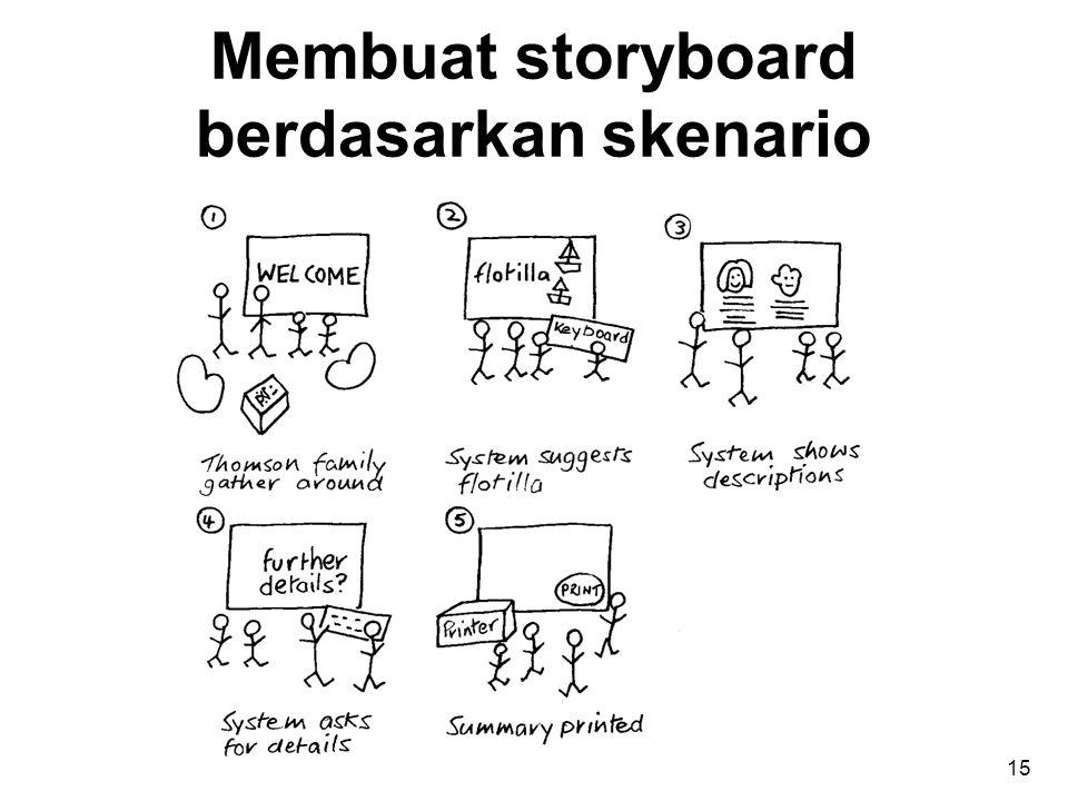 Membuat storyboard berdasarkan skenario