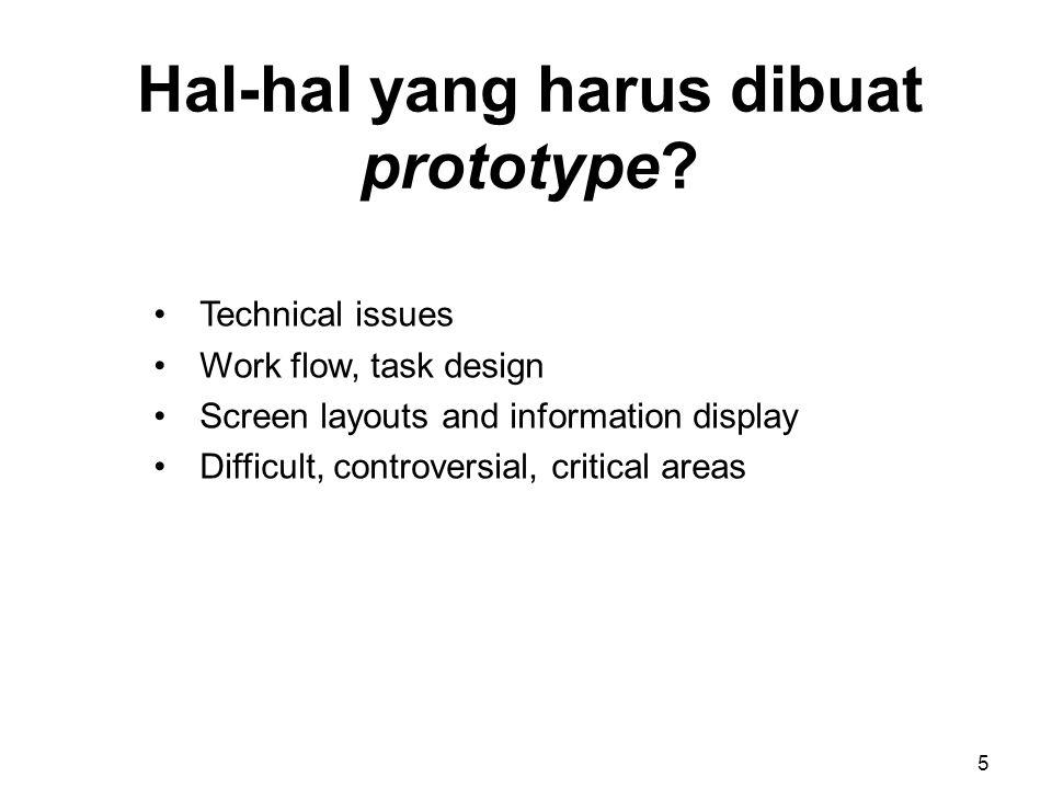 Hal-hal yang harus dibuat prototype