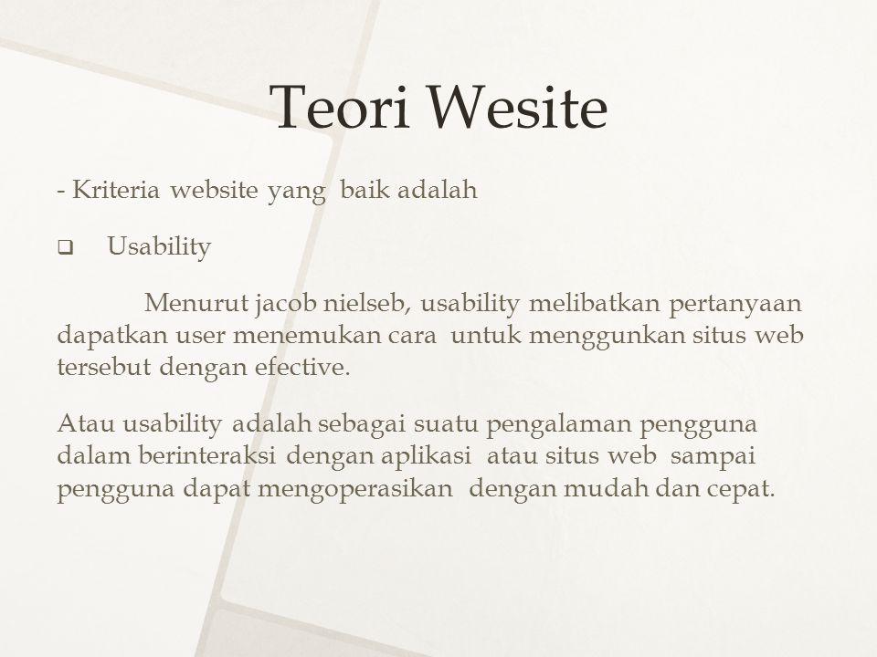 Teori Wesite - Kriteria website yang baik adalah Usability