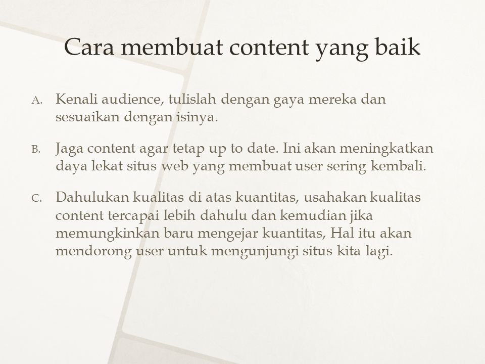 Cara membuat content yang baik