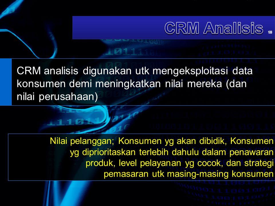 CRM Analisis 13 CRM analisis digunakan utk mengeksploitasi data konsumen demi meningkatkan nilai mereka (dan nilai perusahaan)