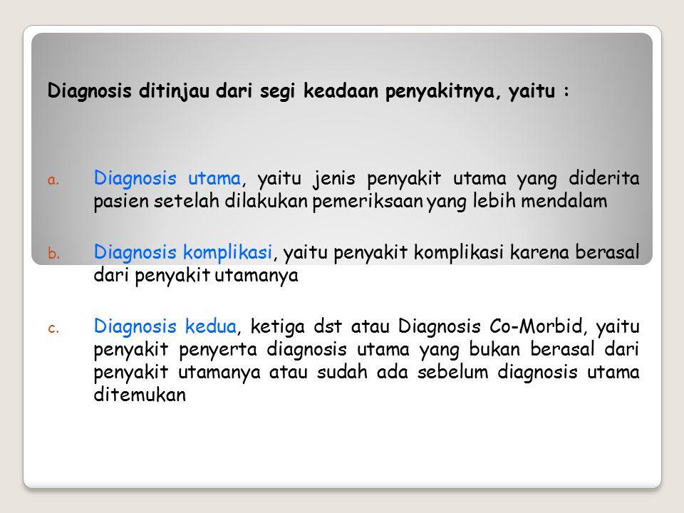 Diagnosis ditinjau dari segi keadaan penyakitnya, yaitu :