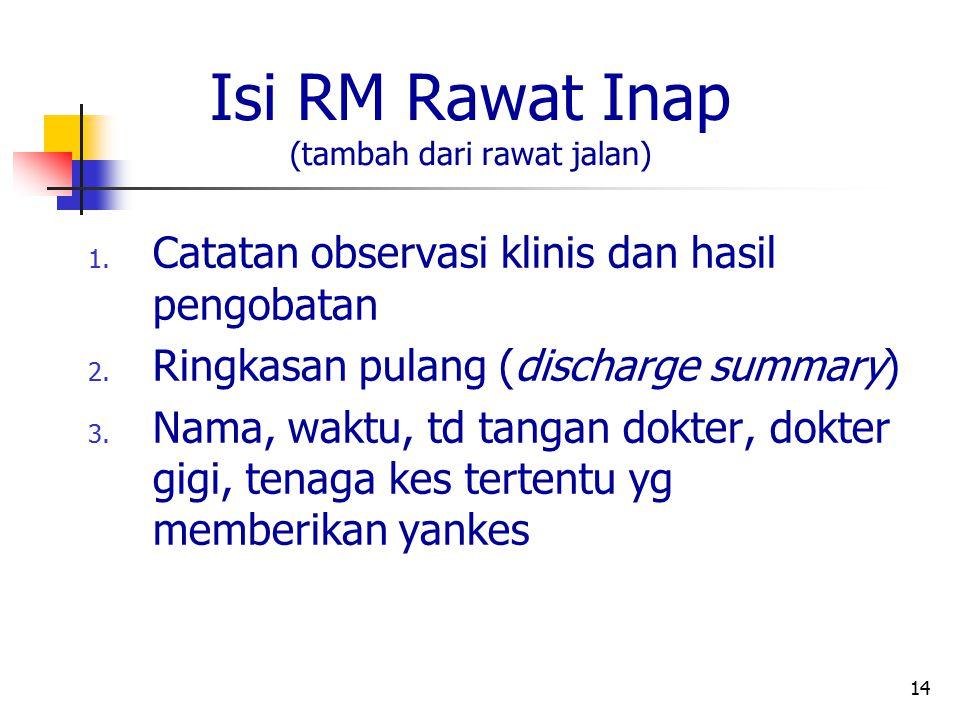 Isi RM Rawat Inap (tambah dari rawat jalan)