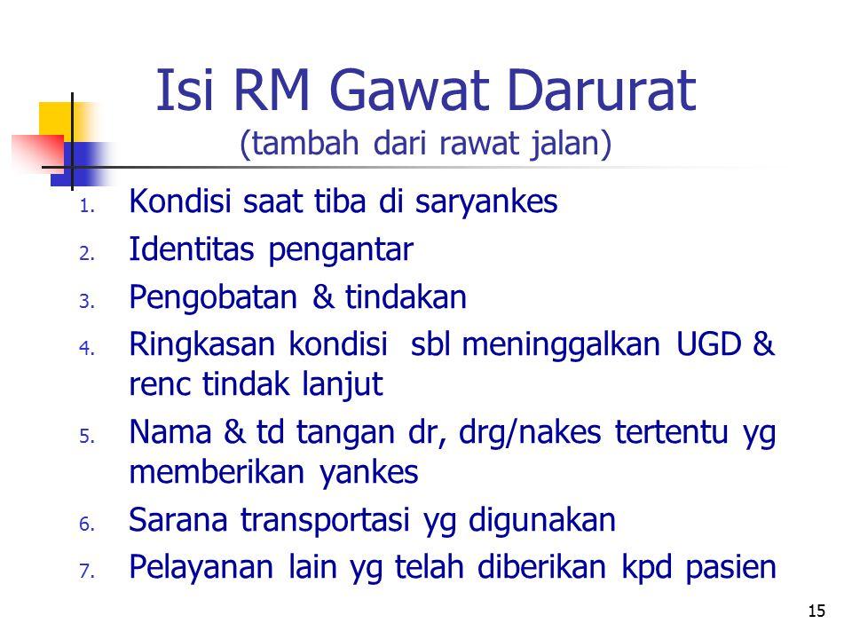 Isi RM Gawat Darurat (tambah dari rawat jalan)